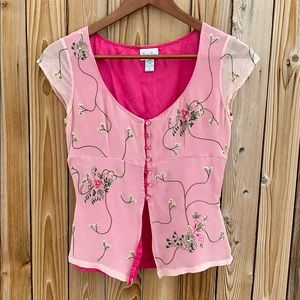 ⭐️Lovely Tracy Reese pink embroidered silk top!